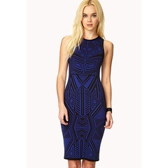 Blue/Black Geo Dress
